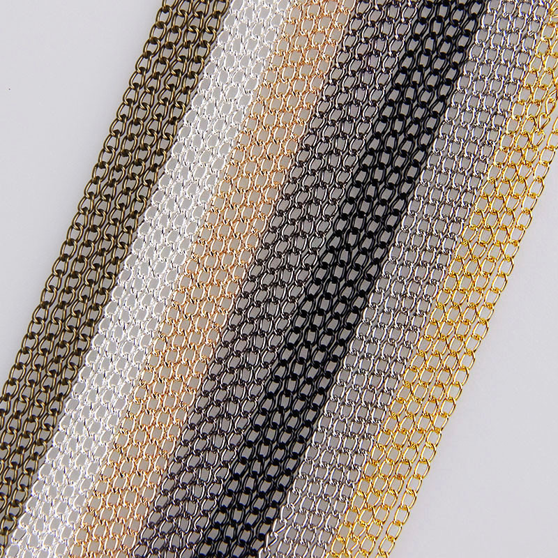 5m/lot 0.6x2x3mm Metal Necklace Chain 7Colors Bulk Fit Bracelets Findings Metal Link Chain For Jewelry Making ювелирное украшение для тела cf 100pcs lot 7colors 16g cf002