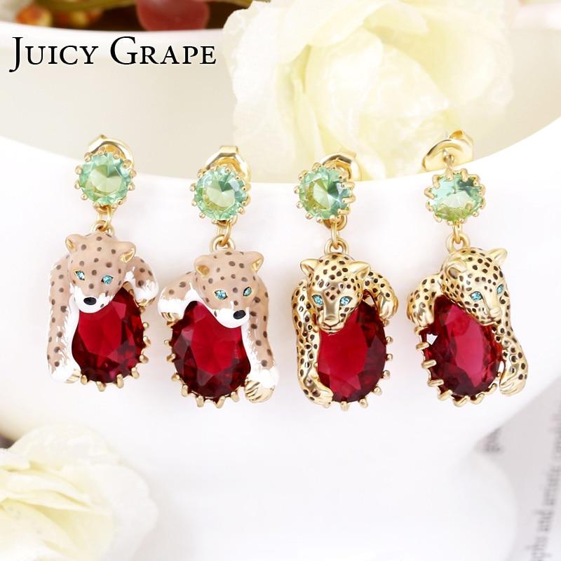 Сочный виноград Леопард Красный Cristal пикантные элегантные серьги гвоздики для женщин 2019 эмаль позолоченная мода ювелирные изделия в виде ж...