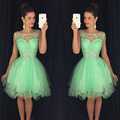Short Party Dress 2016 Mint Cocktail Desses With Crystal Homecoming Dresses Scoop vestido de festa Custom Made Free Shipping