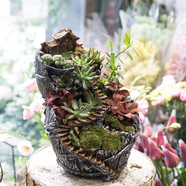 large desktop fairy garden resin flower pot indoor vertical plant decoration planter cottage. Black Bedroom Furniture Sets. Home Design Ideas