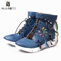 Prova Perfetto 2018 Одежда высшего качества дышащие открытые Кружево шнуровке женские тонкие туфли без каблука разноцветные клин корова кожа Синие