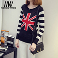 Nordic winds 2016 warm winter women sweaters and pullovers the Union Jack pattern print striped christmas sweater Camisola