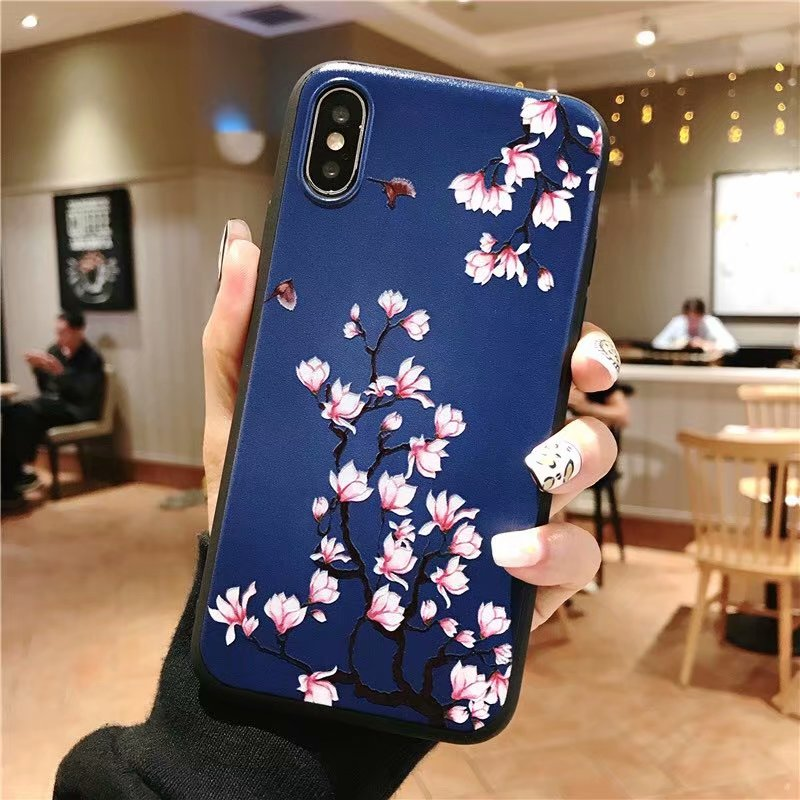 KIPX1051C_1_JONSNOW 3D Emboss Flowers Soft Case for iPhone XS XR Cases for iPhone 6S 7P 8 Plus XS Max Phone Cover