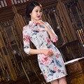 TIC-TEC chinese cheongsam short qipao silk print slim vintage women tradicional oriental dresses party weeding clothes P2846