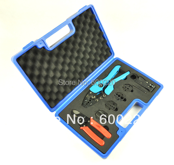 Combination tool set AN-05H-5A2 for TV cables, contains coaxial cable crimping tool & replaceable dies Combination hand tool set ly05h 5a2 mini combination tools pack for coaxial cable and wire in plastic box
