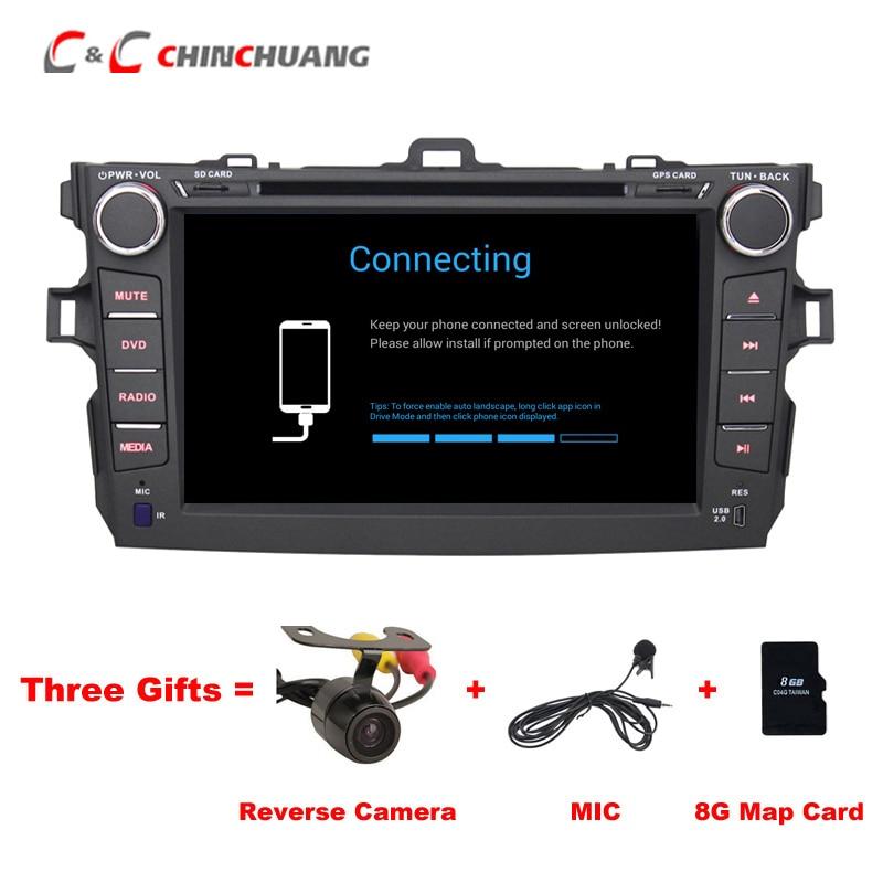 Livraison Mic et 8g Carte! Lecteur DVD de voiture pour Toyota Corolla 2007-2011 avec GPS Stéréo Radio DVR BT, soutien 3g Wifi OBD Android 6.0