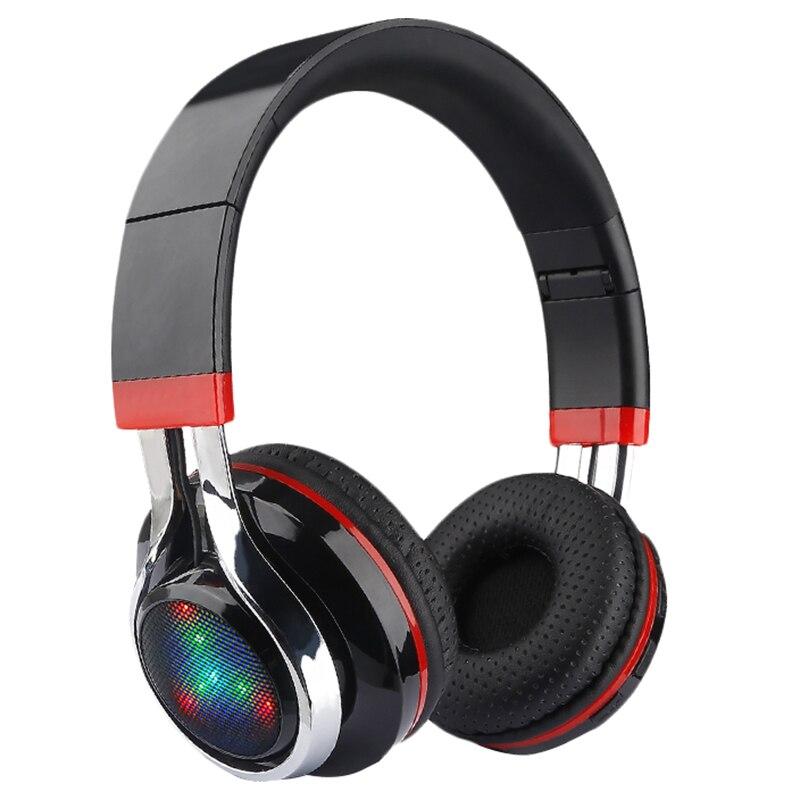 Glowing Stereo Casque Audio Bluetooth Headphone Wireless Big Headset Sport Earphone Mic Led Light Tf Fm For Pc Phone
