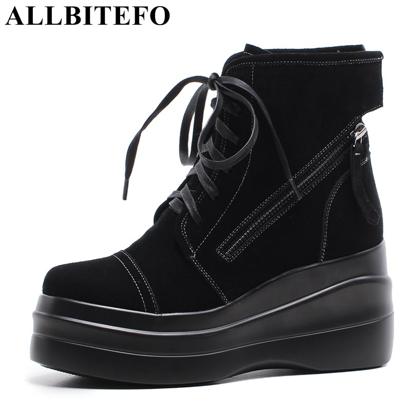 ALLBITEFO fashion genuine leather high heels platform women boots winter wedges heel snow boots girls motorcycle boots shoes xiangban handmade vintage motorcycle boots women high heels platform boots square heel genuine leather