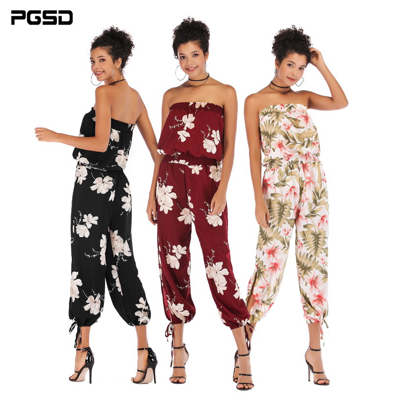 PGSD New Spring Summer Fashion Women Clothes boat neck Backless Frenulum Flower Printing Chiffon Elastic waist Jumpsuits female