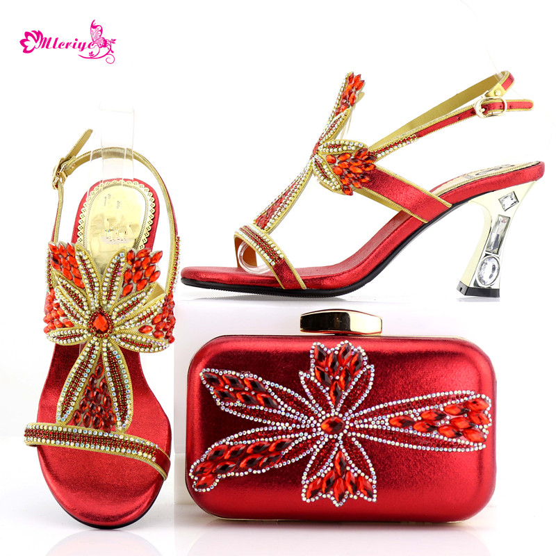 0548 Latest Red Color Woman Italian Shoes and Bag Set High Quality Nigerian Women Shoes And Bag Set For Party Dress doershow nigerian style woman shoes and bag set latest yellow italian shoes and bag set for party dress free shipping sab1 3