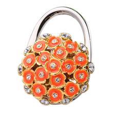 Folding Handbag Purse Table Hook Hanger Bag Table Holder Orange Flower