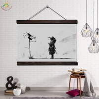 Japan Samurai Modern Wall Art Print Pop Art Picture And Poster Solid Hanging Scroll Canvas Painting Black and White Poster