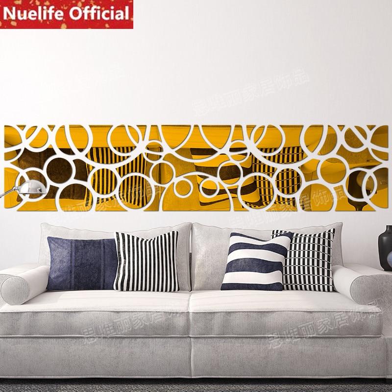 Nouveau style grand cercle design acrylique miroir autocollants coller salle à manger chambre canapé TV fond décoration stickers muraux
