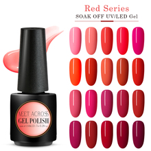 MEET ACROSS Red Uv Gel Nail Polish Top Led Art Varnish Hybrid Soak Off Lacquer