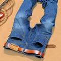 2016 Mens diseñador Apenada ripped Strech biker jeans flaco azul claro distrressed pantalones de marca hip hop streetwear botín