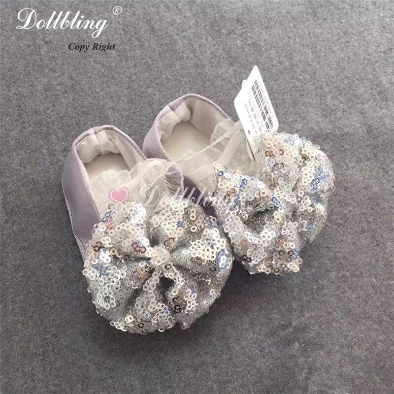 Glitter Sash Gold/Silver/Pink 0 1Y Princess Baby Handmade Sequin Bowknot Elastic Band Christening Match Infant Crib Prewalkers