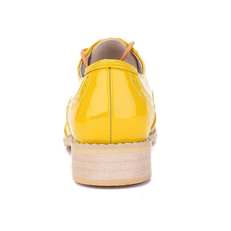 US $34.33 49% OFF|Fashion brand design Echtes leder gelb Patent Leder ochsen vintage oxford schuhe für frauen benutzerdefinierte Freizeit leder