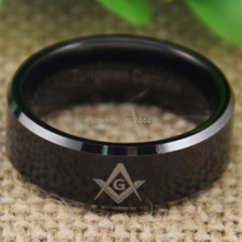 Free Shipping YGK JEWELRY Hot Sales 8MM Comfort Fit Freemason Masonic Mason The New Black Tungsten Wedding Ring
