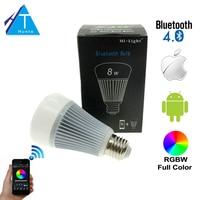 Mi. Light Controle Inteligente Do Bluetooth 4.0 Sem Fio do Bulbo E27 Lâmpada Led 8 W 85-265 V 110 V 220 V Trabalho No iOS Android