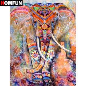 HOMFUN 5D DIY Cross-Stitch Gift Diamond Home-Decor Painting-Square/round-Drill Elephant-Embroidery