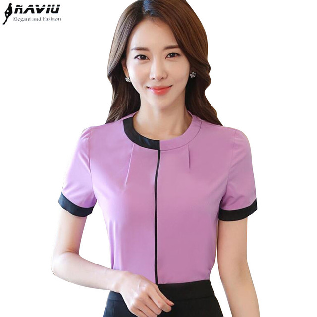 6815a915a3844 Elegant lavender shirt women OL New summer formal Patchwork slim short Sleeve  chiffon blouses office ladies work plus size tops