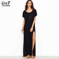 Dotfashion Side Slit Loose Fit Maxi Tee Dress Blue Round Neck Short Sleeve Long Dress 2017