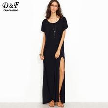 ba670cfbeba Dotfashion с боковыми свободный крой Макси платье-майка Для женщин синий  Цельнокройное летнее платье женские