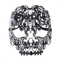 Black Full Face Skull Men Women Metal Laser Cut Silver Masquerade Party Masks White Ball Rhinestone