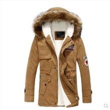 Горячая распродажа мужчины мода теплый плащ меховым воротником с капюшоном куртка толстый хлопка-ватник Outcoat 3 цветов