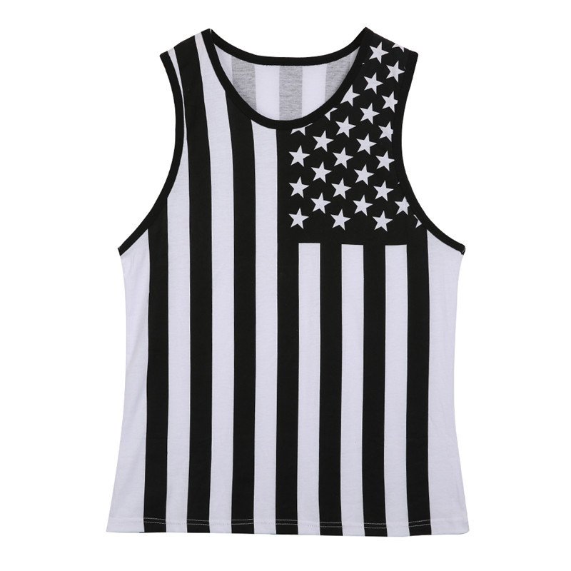 American Flag Body   Tank     Top   Men Polyester Material Vests   Tops   Muscle Swag Striped Star Print Sleeveless