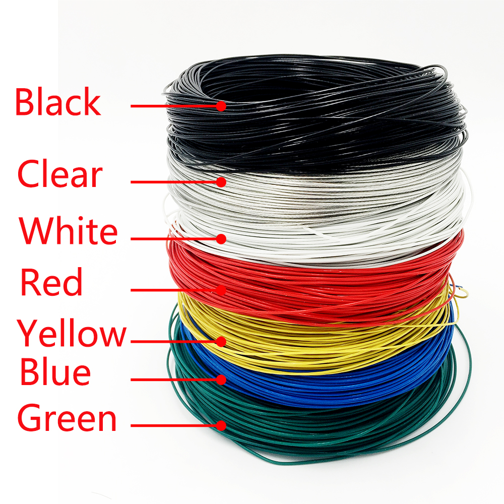Hot Sale 5 M Roll Teflon Electrical Kabel Wires Insulated Colored Home Wiring Wire Color Copper 05mm Electric Cable 7 Choose