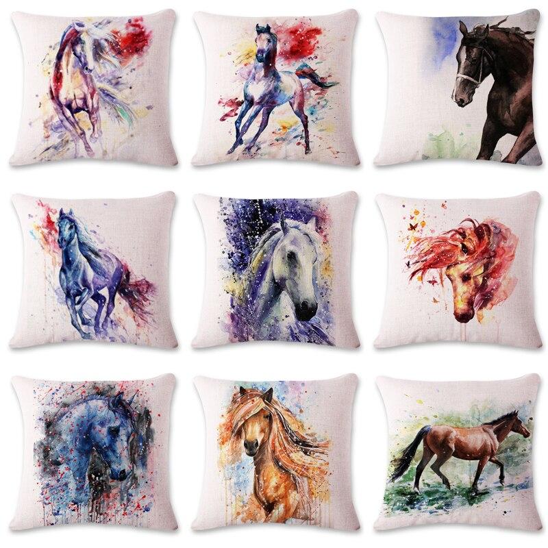Nouveau moderne cheval Art aquarelle peinture housse de coussin nordique rétro nostalgique canapé coton Liene taie d'oreiller bureau taie d'oreiller
