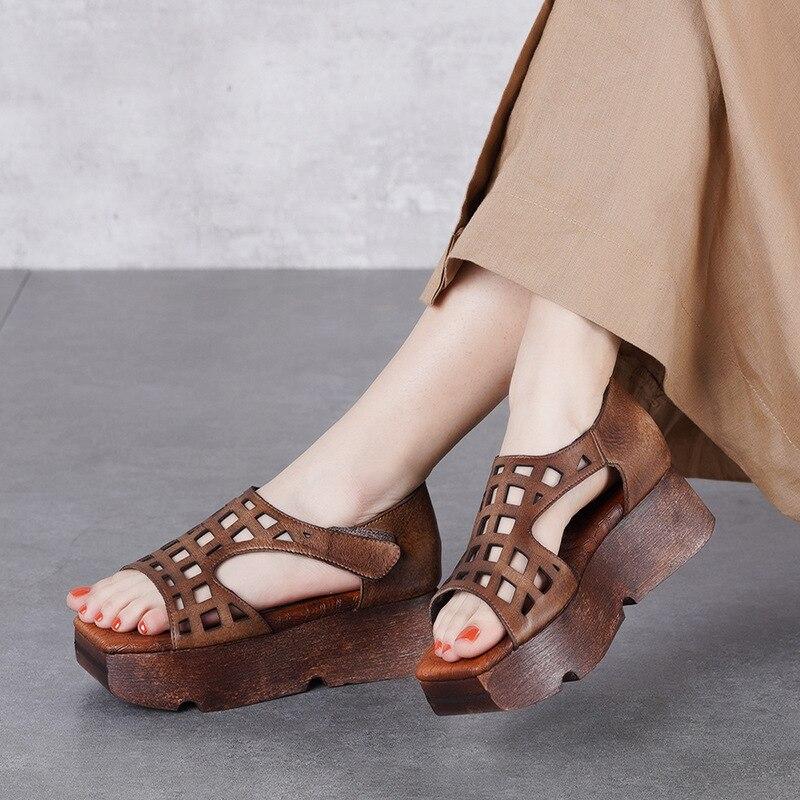 Frauen Leder Sandalen Keile Schuhe 5 Cm High Heels Chunky Sandalen Frauen Handarbeit Aus Echtem Leder Retro Schuhe Marke Sommer 2019-in Hohe Absätze aus Schuhe bei  Gruppe 1