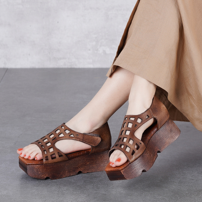 Women Leather Sandals Wedges Shoes 5 Cm High Heels Chunky Sandals Women Handmade Genuine Leather Retro Shoes Brand Summer 2019Women Leather Sandals Wedges Shoes 5 Cm High Heels Chunky Sandals Women Handmade Genuine Leather Retro Shoes Brand Summer 2019
