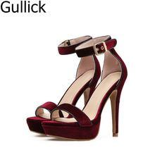 Solid Color Res Black Flock Patent Leather Platform Sandals Women Velvet Ankle Strap High Heel Dress Shoes Cut-out Peep Toe Pump