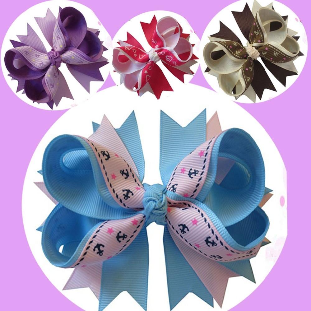 Ha hair bow ribbon wholesale - 20pcs 4 5 Gorgeous Bow With A Ribbon Christmas Ribbon Double Iron Anchor Sky Blue Pinwheel Hair Bow Snap Clips Barrettes