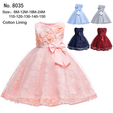 Hot Sales  Cotton Lining Lace Infant Dresses 2019 New Burgundy Baby Dress For 1 Year Girl Birthday Formal Toddler Princess Gowns