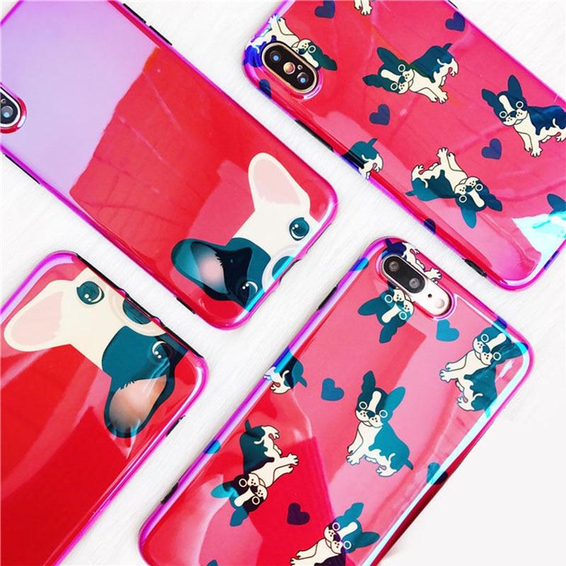 Boucho для IPhone X Капа прекрасный мультфильм карманные Товары для собак Телефонные Чехлы для iPhone 6 6S 7 8 плюс мода Лазерная Blu-Ray собака задняя крыш...