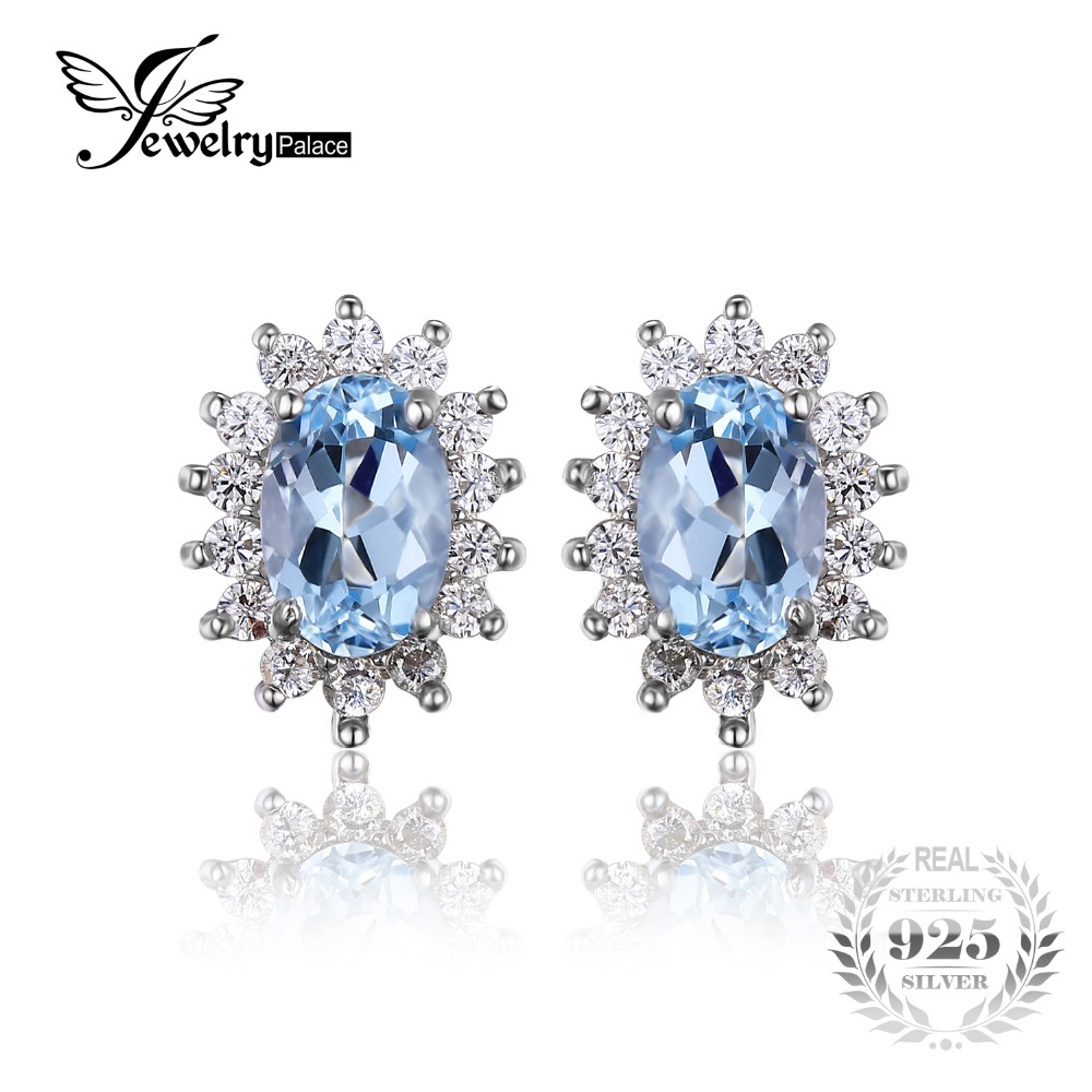 JewelryPalace Princess Diana William Kate 1 2ct Natural Blue Topaz Halo Stud Earrings 925 Sterling Silver