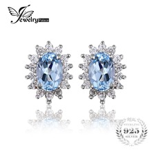JewelryPalace Принцесса Диана Уильям Кейт Halo 1.2ct Натуральный Голубой Топаз Серьги Стерлингового Серебра 925 Ювелирные Изделия Женская Мода