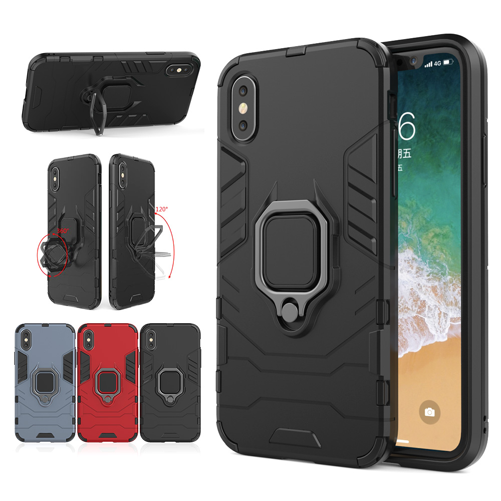 For iPhone X XR case Ultra Rugged Hybrid Armor Magnetic Bracket Finger Ring For iPhone XS Max