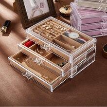 جديد جودة عالية الاكريليك الشفاف صندوق مجوهرات أقراط أقراط الغبار مجوهرات صندوق تخزين المجوهرات عرض موقف بالجملة