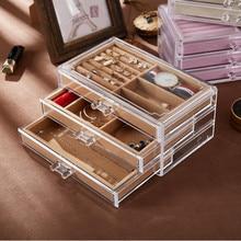 Yeni yüksek kaliteli akrilik şeffaf mücevher kutusu küpe damızlık küpe toz takı saklama kutusu takı ekran standı toptan