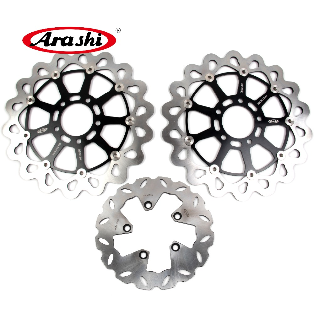Arashi 1 Set CNC Front & Rear Brake Disc Brake Rotors For Suzuki Hayabusa GSX1300R 1999 2000 2001 2002 2003 2004 2005 2006 2007 arashi cnc rear brake disc brake rotors for honda cb250 cb400 cb500 cb500s 1991 2000 2001 2002 2003 2004 2005 2006