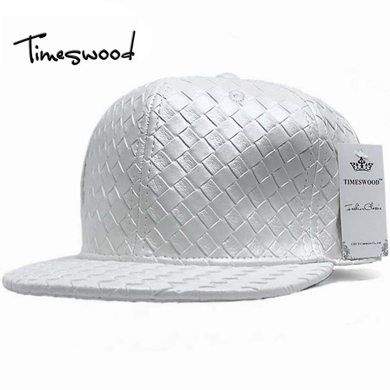 Straight Plain Leather Hip Hop Caps For Men Women Cool Fashion DJ Baseball Cap Black White Solid Street Dancing PU Bone Aba Reta