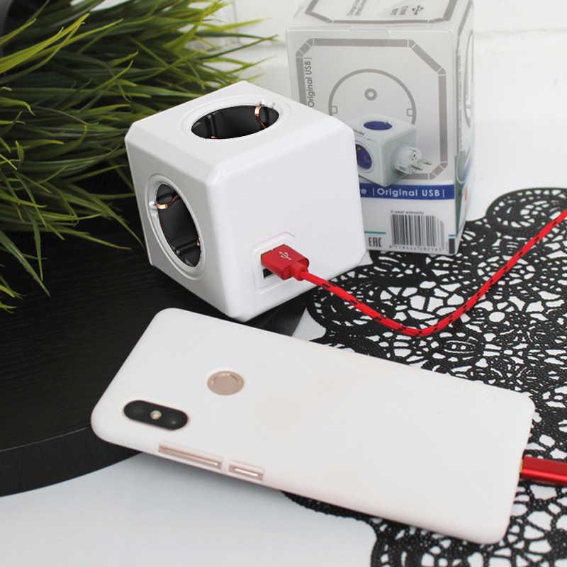 Allocacoc Elektryczny Wtyczka EU Listwa zasilająca 2 Port USB 5 V 2.1A PowerCube Rozszerzenia inteligentne gniazdo Domowy Gabinet adapter podróżny Gniazdo elektryczne
