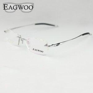 Image 1 - טהור טיטניום משקפיים אופטיים ללא מסגרת מסגרת מחזה מרשם ללא מסגרת משקפיים גברים משקפיים סיליקון רגל 16123