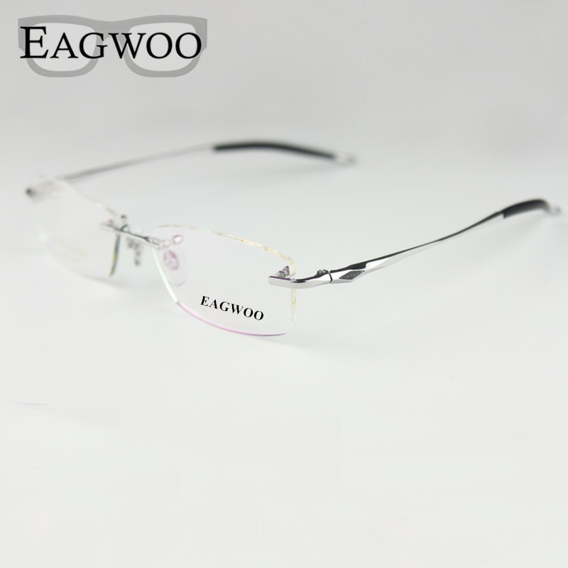 Pure Titanium Eyeglasses Rimless Optical Frame Prescription Spectacle Frameless Glasses For Men Ögonglasögon Silicon Foot 16123