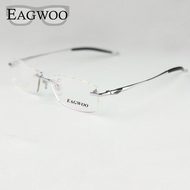 f099fa9a651a Pure Titanium Eyeglasses Rimless Optical Frame Prescription Spectacle  Frameless Glasses For Men Eye glasses Silicon Foot 16123