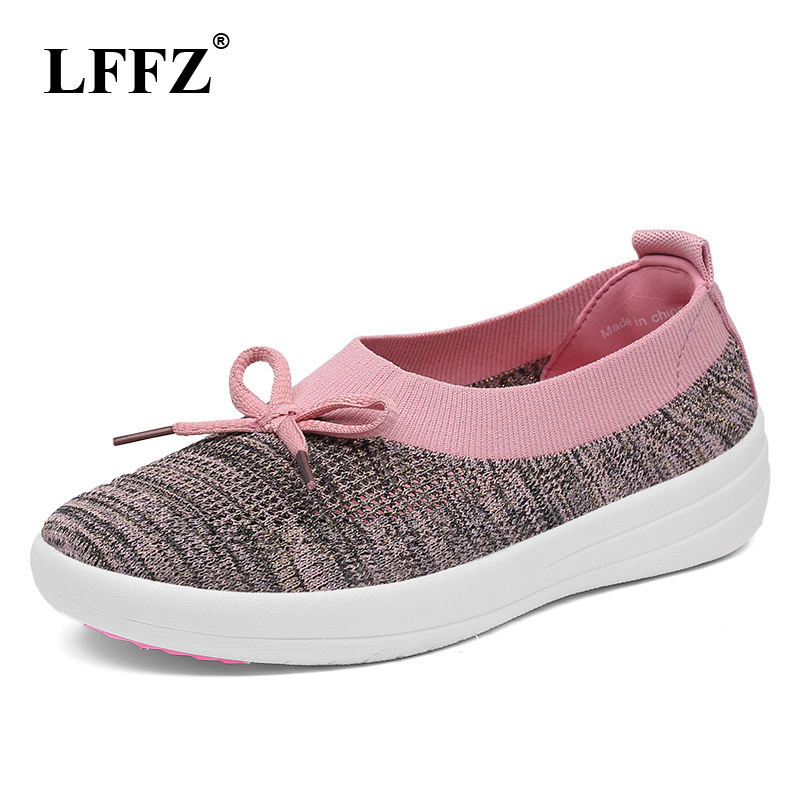 LFFZ 2018 New Spring Breathable Women Casual Shoes Flats Platform Shoes For Women Soft Bottom Mesh Bow Women Sneakers JH119 цена